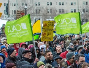CAUT members demonstrate against Bill C-51 on March 14