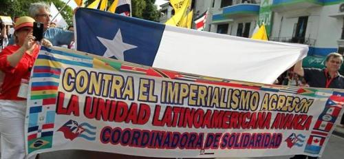 Banner at the People's Summit (see below) expresses rejection of U.S. imperialist striving for domination.