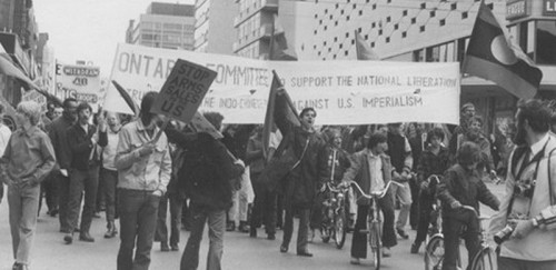 Toronto demonstration in 1970 in support of the Vietnamese people's heroic fight against U.S. imperialism, part of worldwide support for their just cause.