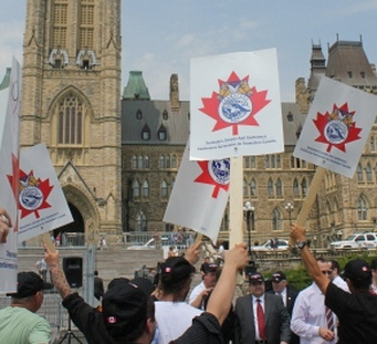 Demonstration by CP rail workers against back-to-work legislation, May 29, 2012.