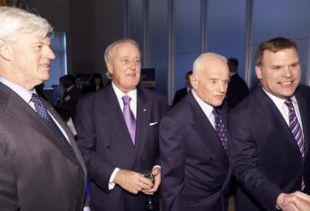 Canadian Council of Chief Executives head John Manley, former prime minister and current Barrick international advisory board chair Brian Mulroney, Barrick founder Peter Munk, and former foreign minister and current Barrick international advisory board member John Baird, pictured in 2012. at an exclusive dinner at The Museum of Nature. William Cohen, Clinton's former Secretary of Defense, was keynote speaker | The Hill Times Photo: Jake Wright