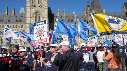Seafarers protest the Comprehensive Economic and Treaty Agreement with Europe, Ottawa, September 26, 2014