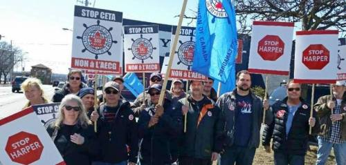 Seafarers protest in St. Catharines on April 1