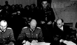 On May 9, 1945 the unconditional surrender of Germany was signed in Berlin by General Feld Marshal Wilhelm Keitel, the chief of Supreme Command of the Armed Forces, General Admiral Georg von Friedburg, the supreme commander of the navy, Colonel General Hans-Jürgen Stumpff, a representative of the air force.