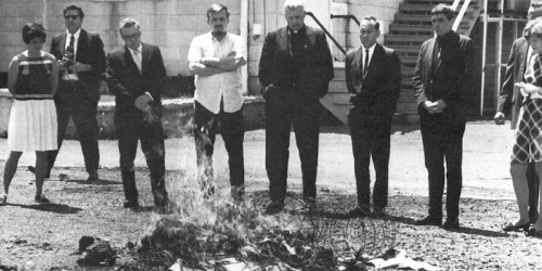"Catholic protestors of the war, the ""Catonsville Nine"", burn draft files at draft board office in Catonsville, Maryland, May 17, 1968"