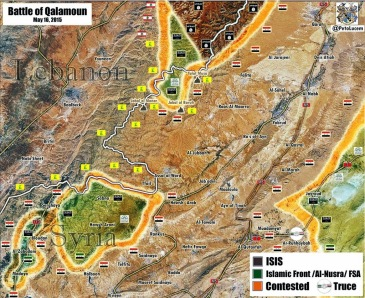 Map depiction of Qalamoun offensive,16 May 2015  | PetoLucem (Click to enlarge)