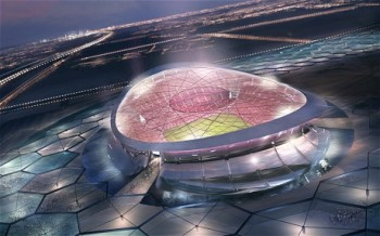 An artist's impression of the Lusail City stadium, designed for the Qatar 2022 World Cup final. Inhuman abuse and exploitation of migrant workers preparing emirate stadia for the 2022 World Cup is rampant. Qatar hosts the huge Al-Udeid Air Base, headquarters for US air operations in the region and the directing centre of the air war against Syria and Iraq. It has been one of the leading funders of the terrorist forces aiming to subvert the sovereign government of Syria.