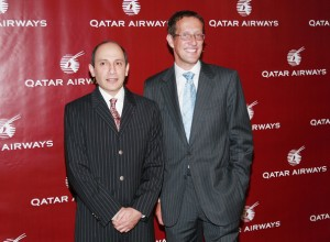 CNN's Richard Quest and Qatar Airways CEO Akbar Al Baker (L) attend a Qatar Airways gala to celebrate their inaugural flights to New York City, June 28, 2007 at the Lincoln Center. | Evan Agostini/Getty Images Entertainment