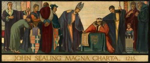 King John gives his approval of Magna Carta with his seal as the rebel barons look on, Runnymede, England, June 15, 1215. (Frank Wood, 1925 c; Supplied by The Public Catalogue Foundation)