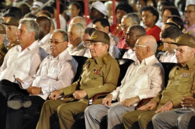 Shown together with other leaders, Army General Raul Castro, First Secretary of the Central Committee of the Cuban Communist Party (CC of the PCC) and President of the councils of State and Ministers, presided over the rally held in the Hero City of Santiago de Cuba for National Rebellion Day.