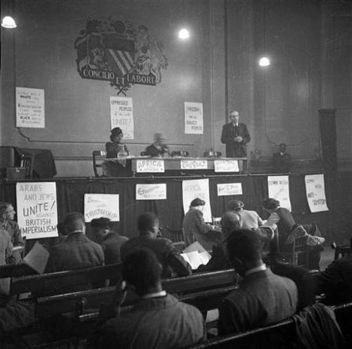 10th November 1945: John McNair, General Secretary of the ILP (Independent Labour Party) addresses the first Pan-African Congress in Manchester. Original Publication: Picture Post - 3024 - Africa Speaks In Manchester - pub. 1945 (Photo by John Deakin/Picture Post/Getty Images)