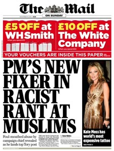 The UK's Daily Mail comments on Lynton Crosby's incitement of racism at the time he was an election campaign strategist for David Cameron's Conservative Party in 2012.