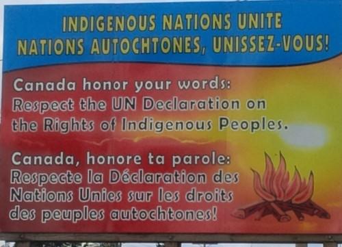 Sign on the territory of the Kitigan Zibi Anishinabeg Nation.