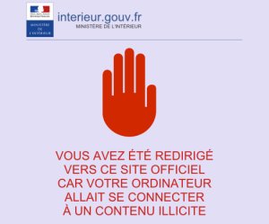 Message appearing on web-site blocked by French Ministry of the Interior after the Charlie Hebdo attacks in January 2015.