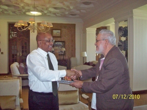 Jorge Risquet meets with Jacob Zuma, president of South Africa at his residence, December 12, 2010. The two leaders ratified the deep friendship that unites the two countries. Risquet, founder of the Communist Pary of Cuba, was head of the Patricio Lumumba Internationalist Battalion in Congo Brazzaville ans Director of the Cuban Internationalist Civil Mission in the People's Republic of Angola between 1975 and 1979.
