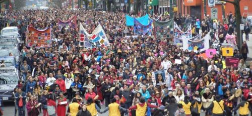 Memorial march for missing and murdered Indigenous women, Vancouver, February 14, 2015.