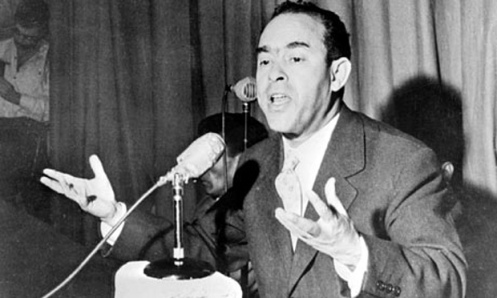 Mehdi Ben Barka giving a press conference in Casablanca in January 1959.EPA
