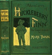 "The cover of the second edition of ""Adventures of Huckleberry Finn."""