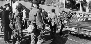 Canadian soldiers take over the streets of Montreal following the invocation of the War Measures Act, October 1970.