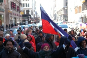 Demonstration on February 3,2007 of members of Baz Fanmi Lavalas, activists and friends of Haiti, in downtown Montreal