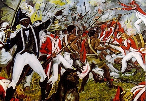 """Combat de Vertières"" by Patrick Noze, oil on canvas, from Haitian Art in the Diaspora. The Battle of Vertières was the decisive conflict of the Haitian revolution, fought in November 1803."