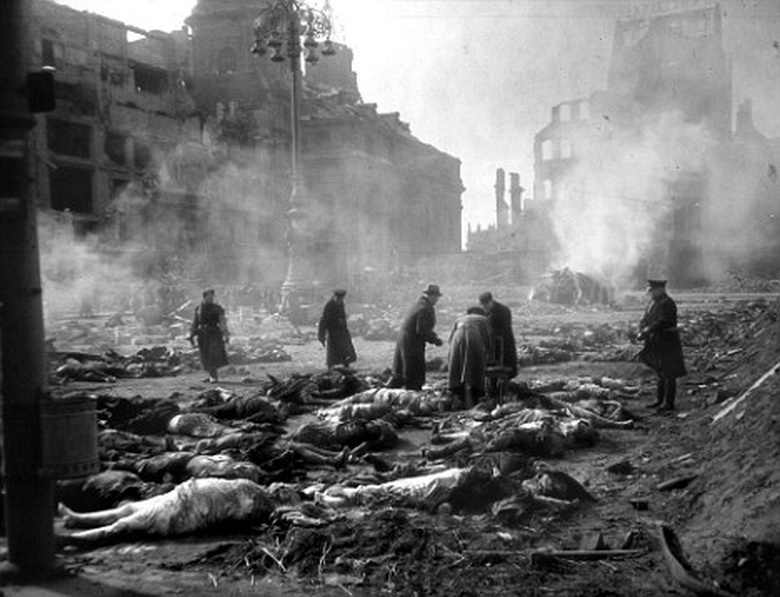 Aftermath of the 1945 bombing of Dresden, Germany by Allied forces.