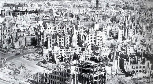 Aftermath of the 1945 bombing of Dresden, Germany by Allied forces