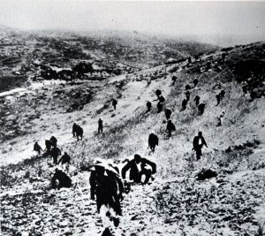 On the night of April 7-8, 1948 under the command of Abd al-Qadir al-Husseini, Palestinian irregulars counterattacked the Haganah occupiers of Castel deployed as part of Operation Nachshon. The Palestinians are seen here moving to the counterattack. (Click to enlarge)