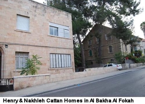 "Homes of Henry Cattan (left) and his father Nakhleh (father of Henry, George and Margerite) in Al Bakha Al Fokah, West Jerusalem. Henry Cattan (1906-1992) was an outstanding international jurist, writer and advocate of the inalienable rights of the Indigenous people of Palestine. He wrote many enlightening monographs, such as The Palestine Question, Palestine and International Law and Jerusalem. In May 1947, as representative of the Palestinian ""Arab Higher Committee"", he declared in front of the United Nations that sovereignty was vested in the inhabitants, declaring ""The Arabs are not claiming Palestine based on promises, but because it is their country .. British Mandate became null and void, the continuation of it endanger the security and safety ... Britain must stop the illegal and legal immigration ... and it must separate the problem of displaced Jews, from the question of Palestine, in order to achieve justice ... """