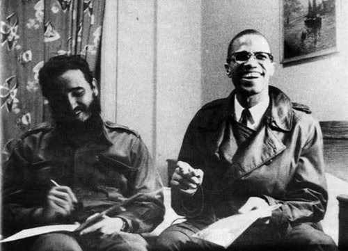 Fellow anti-imperialists Fidel Castro and Malcolm X in Harlem, 1960.