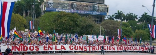 """We are united in the construction of socialism"" – Cuban workers celebrate May Day 2015 in Havana."