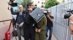 The IDF soldier who shot the wounded Palestinian terrorist in Hebron being escorted to court on the day after the incident, on March 25, 2016 | Ofer Vaknin
