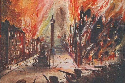 Depiction of the devastation and firestorm caused by the British in besieging the GPO, headquarters of the Rising