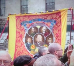 Delegation of the Durham Miners Association outside the GPO in Dublin with the Follonsby banner featuring James Connolly and V.I. Lenin