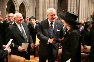Former British Prime Minister Margaret Thatcher (right) is greeted by former Canadian Prime Minister Brian Mulroney, former Soviet President Mikhail Gorbachev and former Japanese Prime Minister Yasuhiro Nakasone before the funeral service for former President Ronald Reagan, June 11, 2004 at the National Cathedral in Washington, DC.