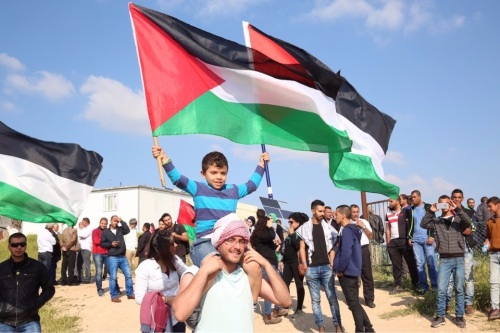 Land Day protest in the southern Negev village of Umm el-Hieran, slated for demolition, as Palestinians mark the 40th anniversary of protests of land confiscations | Joint List