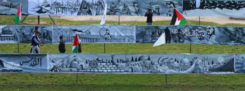 Land Day mural in Gaza, depicts life and resistance of the Palestinian people. (Click to enlarge)