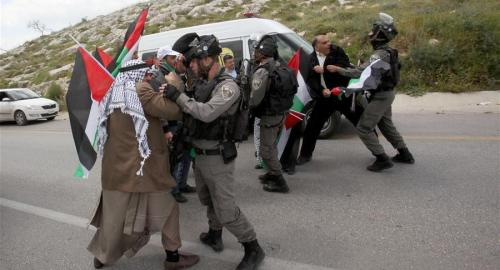 Israeli security forces confront Land Day protest near Nablus, March 30, 2016. (Click to enlarge)