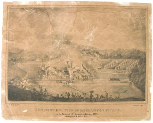 The destruction of Roehamton Estate. A print depicting the destruction of the Roehamton Estate, property of J. Baillie, Esq. in the parish of St. James in January 1832 | Creator Duperly, Adolphe, 1832, National Library of Jamaica