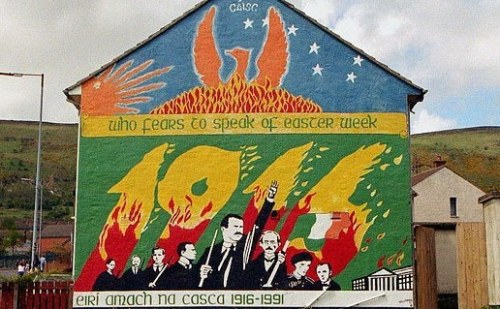 1991 mural in Belfast marking the 75th anniversary of the Irish Rebellion. In foreground are the Republicans who signed the proclamation of independence.