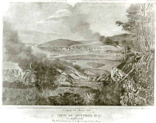 A view of Montego Bay from Reading Hill A Duperly photograph showing rebel slaves destroying the road and the burning of the Reading Wharf during the the 1831-32 slave rebellion in Jamaica, led by Sam Sharpe. Creator Duperly, Adolphe 1833 National Library of Jamaica