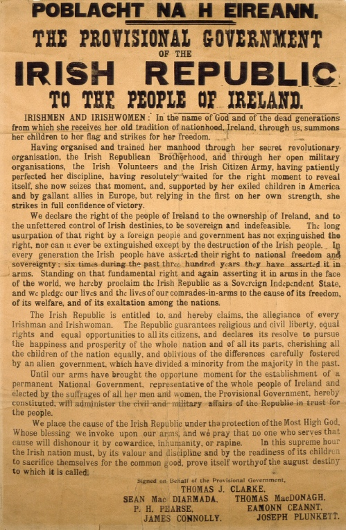 Poblacht na hÉireann – the 1916 Proclamation of the Irish Republic, an original copy with its distinct fonts