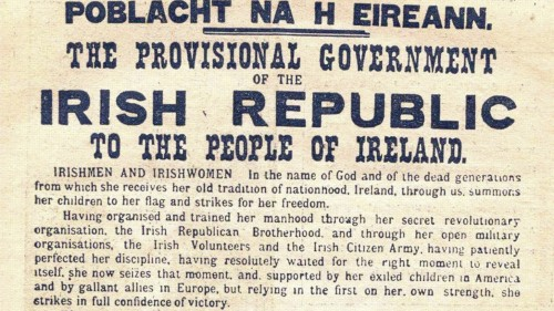 Proclamation of the Irish Republic, signed on April 24, 1916 by seven leaders of the uprising, Thomas J. Clarke, Seán Mac Diarmada, Thomas MacDonagh, Pádraig Pearse, Éamonn Ceannt, James Connolly and Joseph Plunkett. All were executed by the British after the rising was crushed.