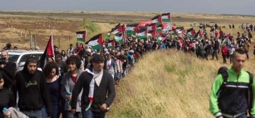 March of Return, on lands of destroyed village of Hadatha, near Tiberias, April 23, 2015, highlight the memory of the Nakba (disaster).
