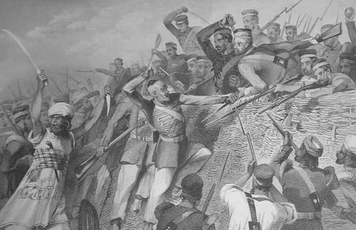 Engraving from the 1860s of scene from the First Indian War of Independence (Click to enlarge)