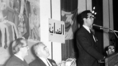 Addressing the first annual Canadian Arab Federation (CAF) convention in Toronto, 1969. George Tomeh, UN Arab Ambassador is to left, with Ibrahim Salti, CAF President at the podium | Al Jazeera