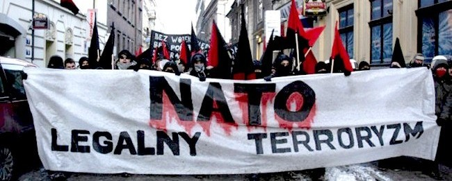 """""""NATO Legal Terrorism"""": Protest in downtown Krakow, Poland against NATO Defence Ministers' meeting, February 19, 2009, and plans to install U.S. anti-missile bases in Poland."""