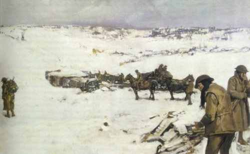 Mametz, Western Front, a winter scene by Frank Crozier (Click to enlarge)