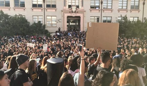 Students walk out of Berkeley high school to protest Trump's election, November 9, 2016