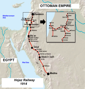 The Hejaz Railway was a narrow gauge railway that ran from Damascus to Medina, through the Hejaz region of Saudi Arabia, with a branch line to Haifa on the Mediterranean Sea. It was built with support from the British Empire, and threatened British positions on the Red Sea. (Click to enlarge)